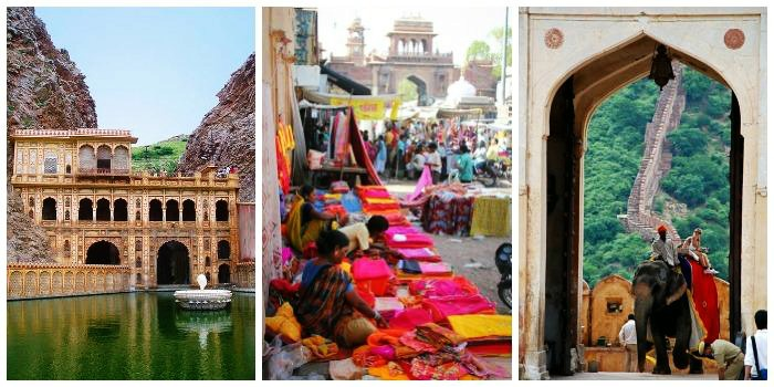Galtaji temple, street market colors textiles, amberfort elephant ride in jaipur