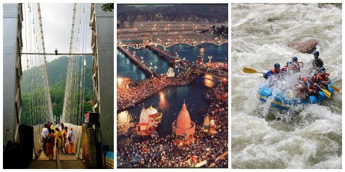 Famous Laxman Jhula in Haridwar and river rafting in Rishikesh
