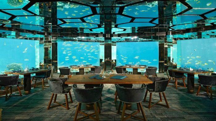 Anantara Kihavah Villas - an underwater restaurant and wine cellar
