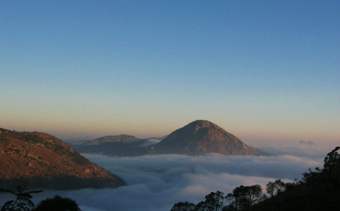 Nandi Hills, an ancient hill fortress in southern India near Banglore