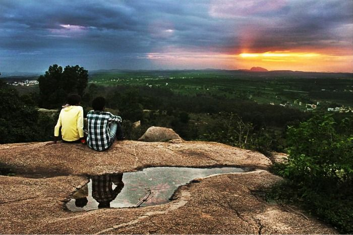 Overlooking sunset at Rocks of Ramanagara near Bangalore