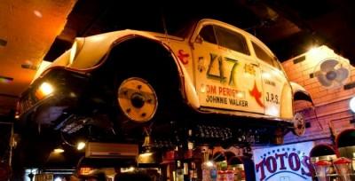 Toto's Garage Mumbai - DJ playing terrific retro music in a Maruti van