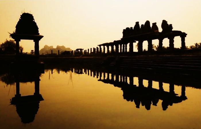 View of the Vijaya Vittala Temple during twilight at Hampi