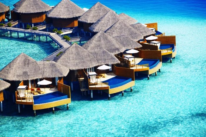 View of the sea view villas at one of the best resorts in Maldives for Honeymoon