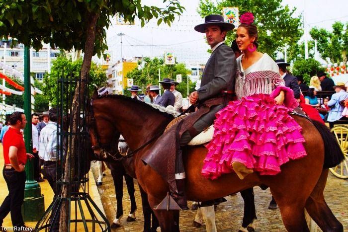 A Honeymoon couple in Seville at the Feria de Abril