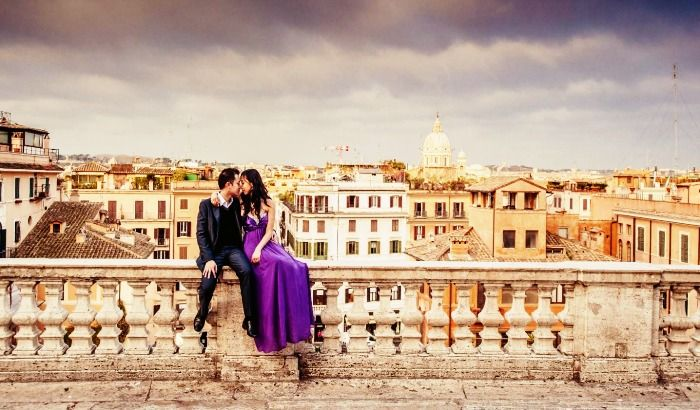 A couple celebrating their Honeymoon in Italy