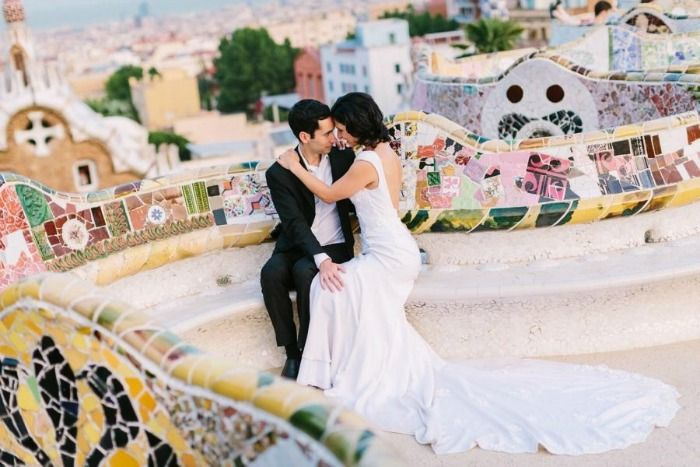 Newly married couple enjoying honeymoon in Spain