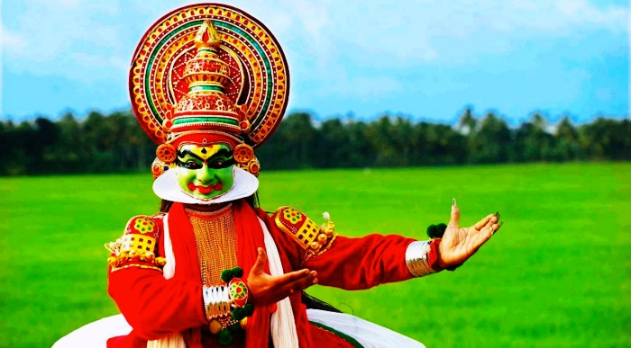 A Kathakali artist performing the dance form