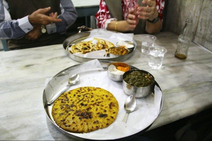 Makke di roti & Sarson da saag at Sharma Dhaba near Shimla