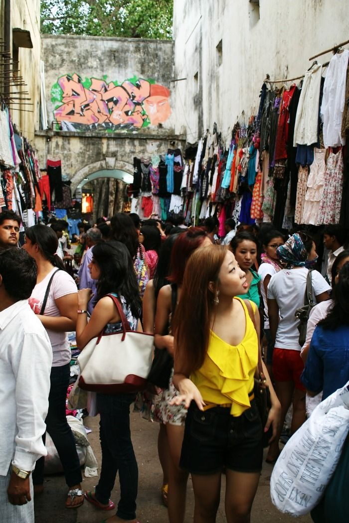 A girl street shopping in the lanes of Sarojini Nagar, Delhi