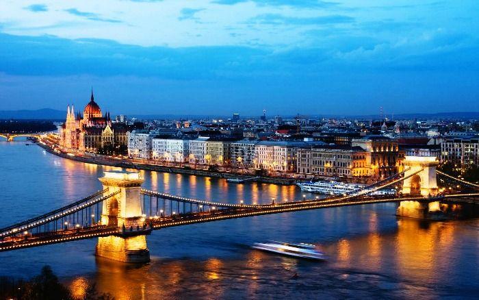The view of Budapest bridge at night