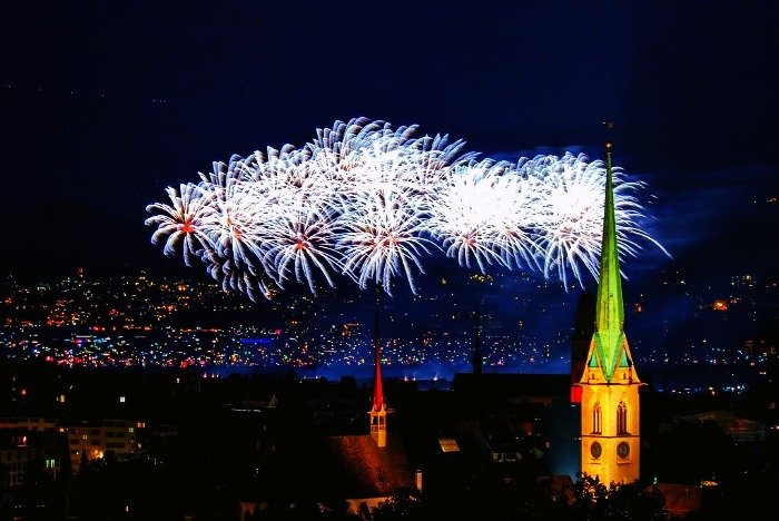 The view of Zurich at night