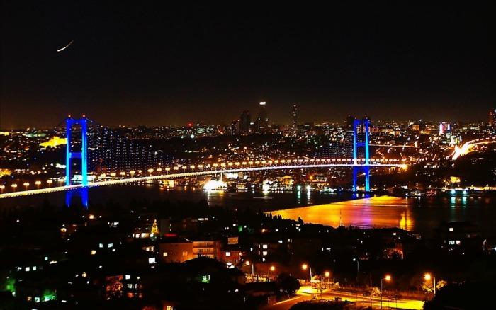shimmering light of istanbul at night