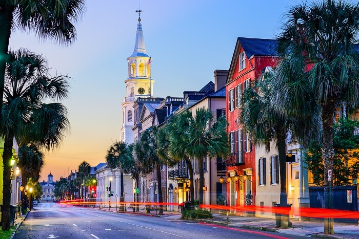 Cityscape of Charleston in South Carolina state of USA in the historic French Quarter at twilight
