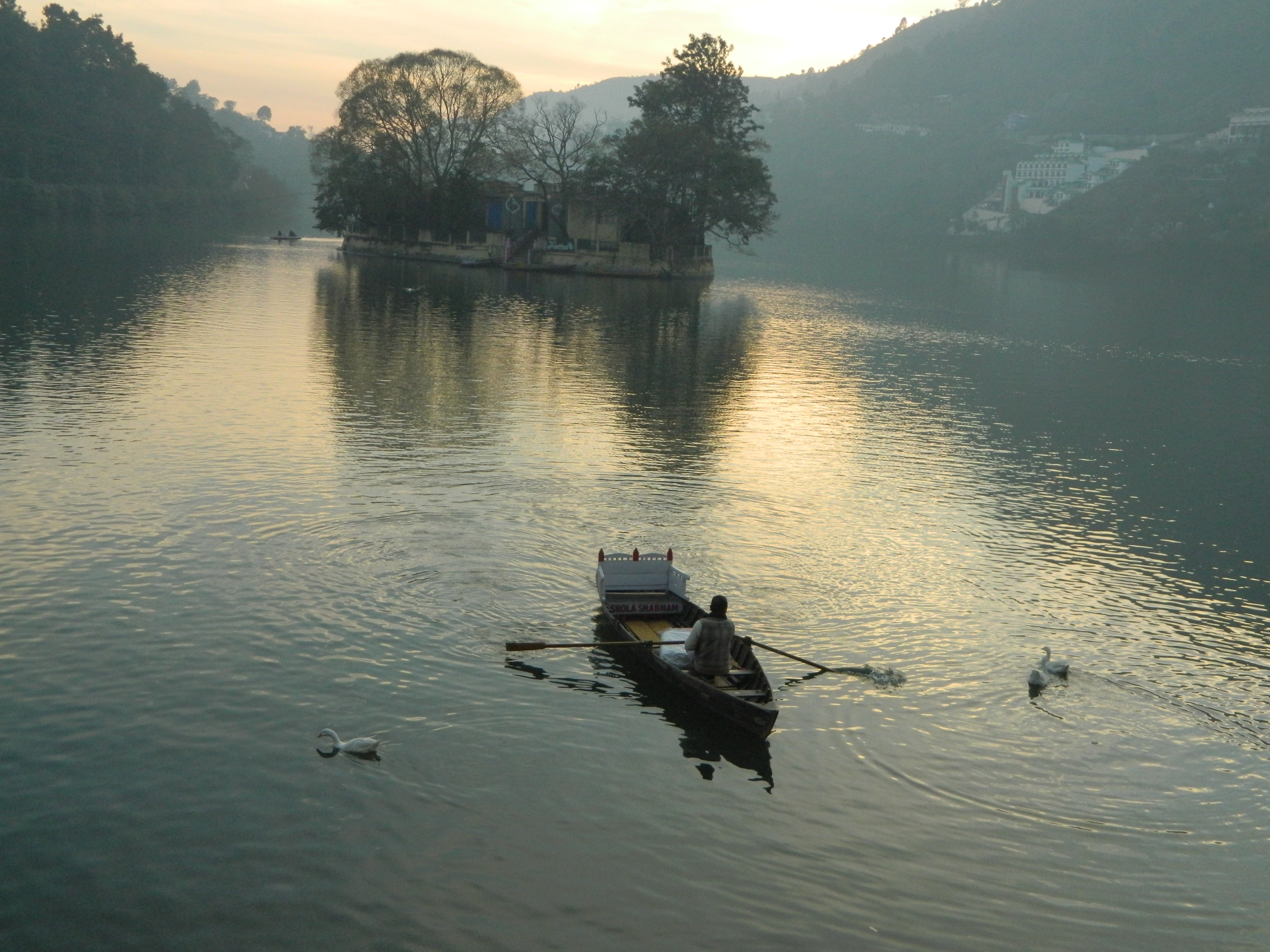 a man rowing boat in a lake