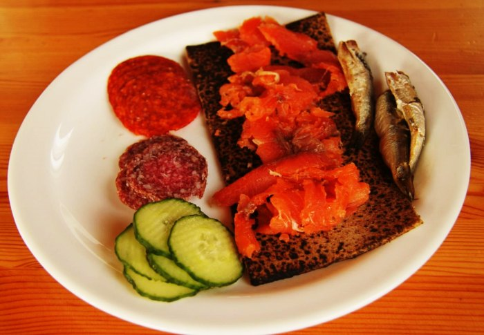 Salmons and lamb goulash make up for a delicious breakfast in Iceland
