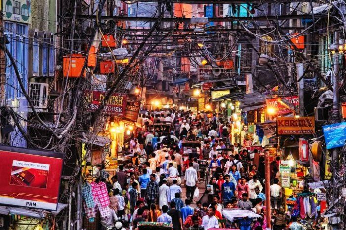 The ever colored and crowded market of Chandni Chowk Delhi
