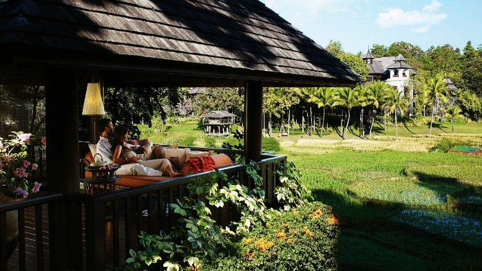 Honeymoon couple in an exotic resort in Chiang Mai, Thailand