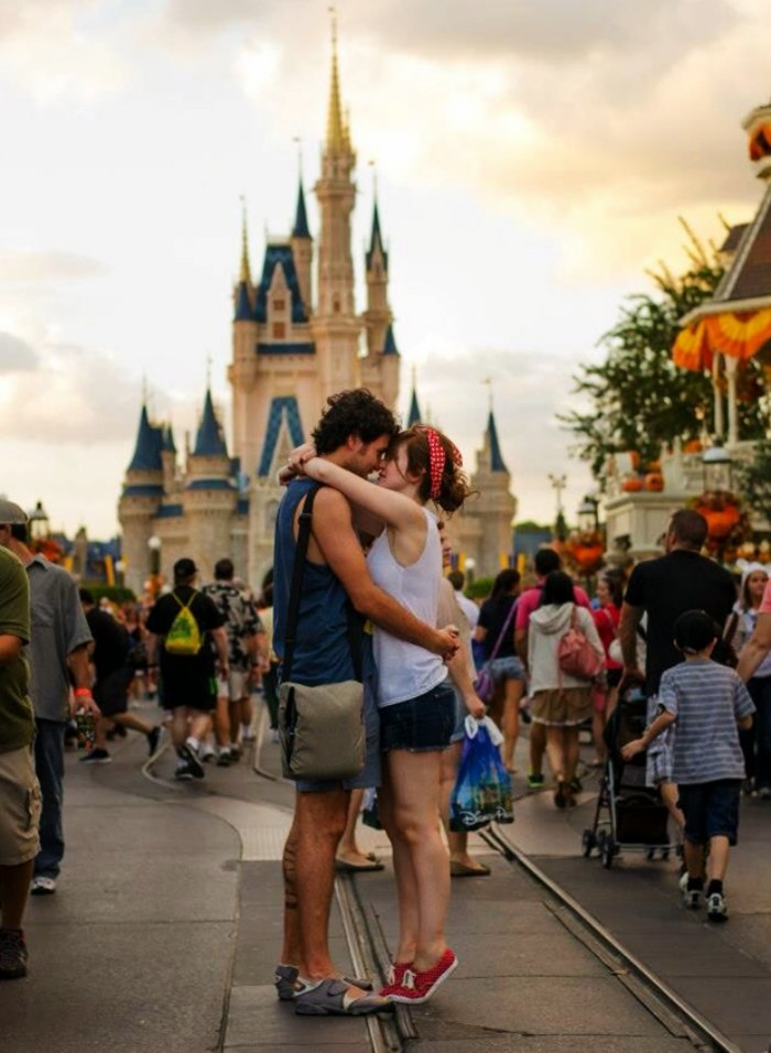 A couple honeymooning in Disney World, Florida