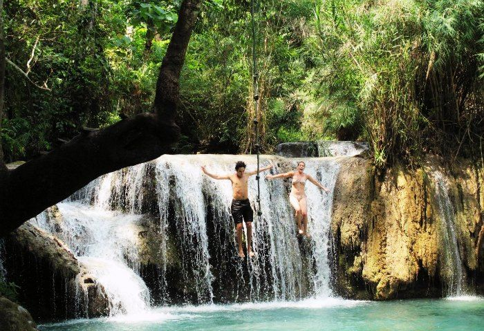 Couple enjoying in their summer honeymoon in Laos