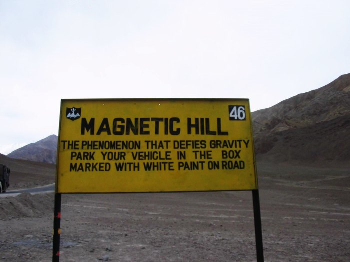 Magnetic hill is one of the best places to visit in Leh Ladakh