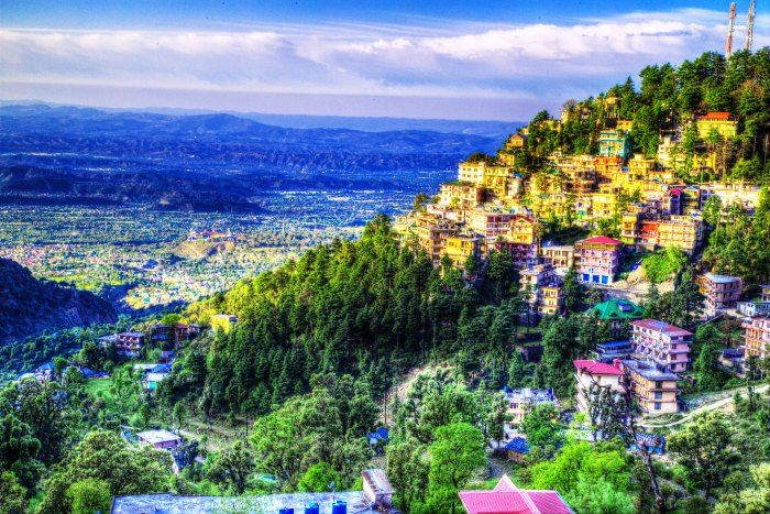 An aerial shot of the beautiful hill station of Mcleodganj in Himachal Pradesh
