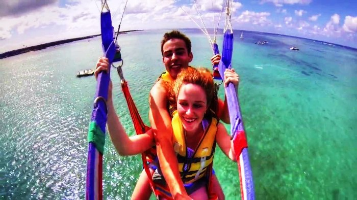 A couple parasailing in Mauritius
