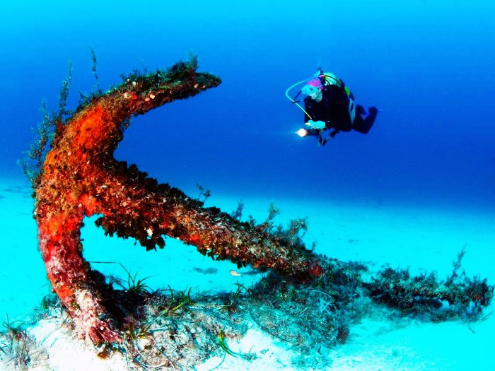 An Anchor of the shipwreck diving sites of the Rozi MV in the waters of Cirkewwa