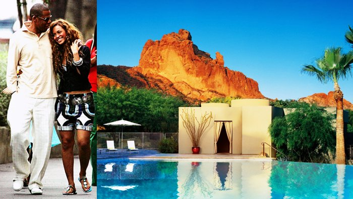 Jay Z and Beyonce Knowles kick started their married life together at Sanctuary on Camelback, Arizona