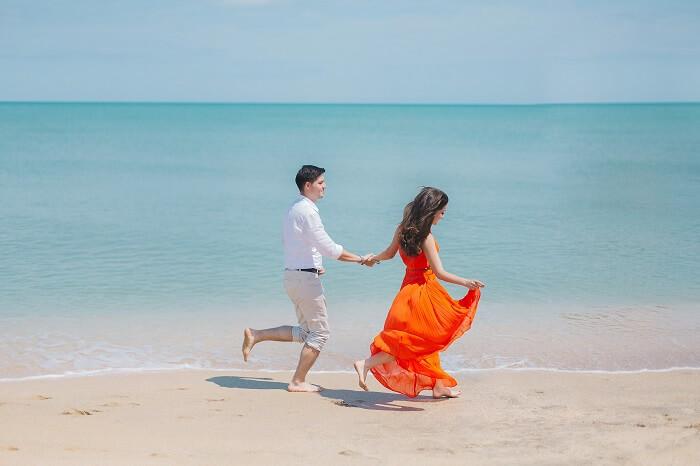 romantic walk on Sanur Beach