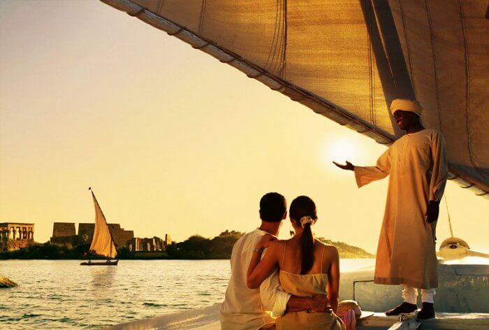 A honeymoon couple on a yacht in Egypt