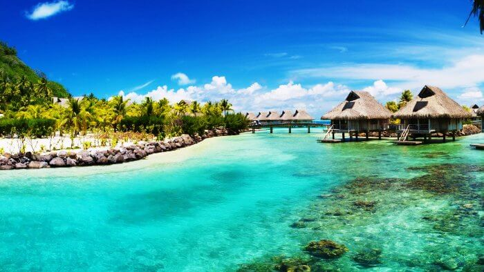 Azure Waters and over water villas of Belize