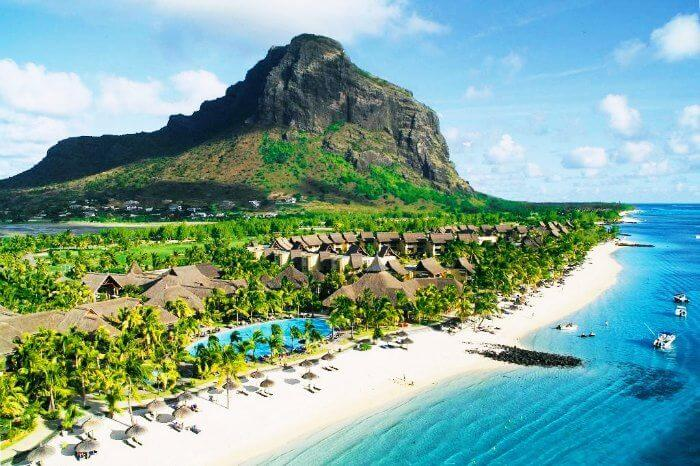 Beautiful Mauritius Island and azure waters of the sea
