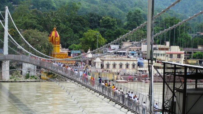 The popular Laxman Jhula in Haridwar over river Ganga