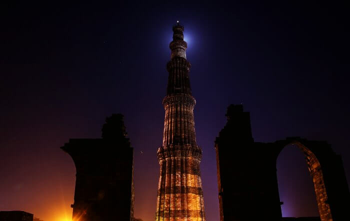 Start a night walk in Delhi from Qutub Minar on a full moon night.