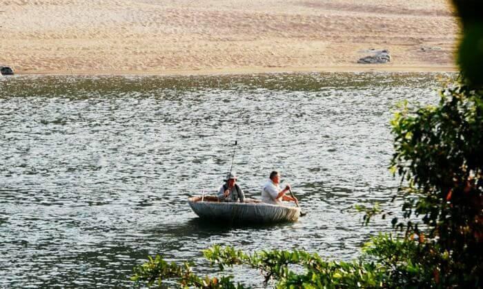 Coracle boat at Kaveri Sangam