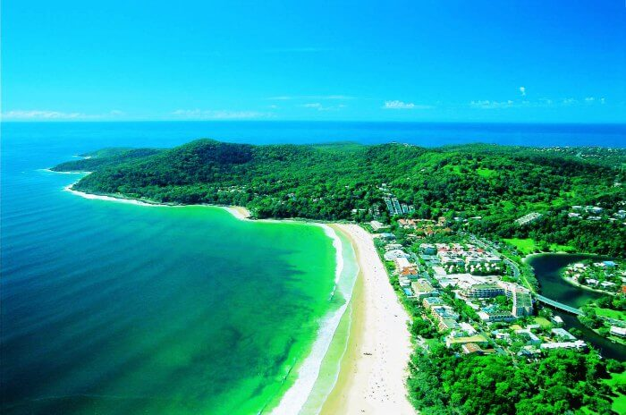 Bird's eye view of the Sunshine coast in Australia
