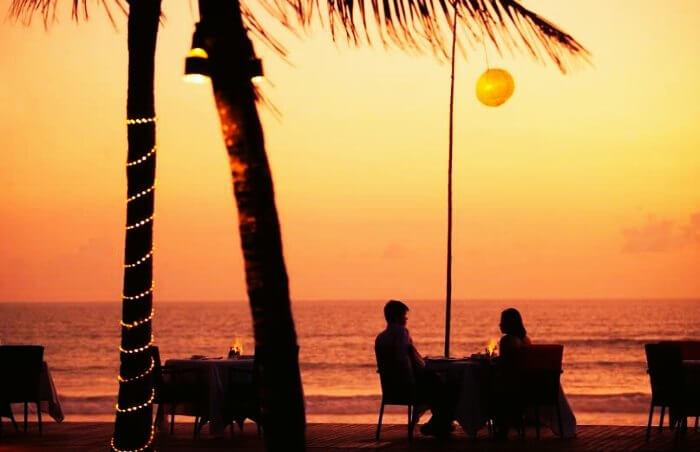 Couple having meal at the Samaya Villas in Seminyak, Bali