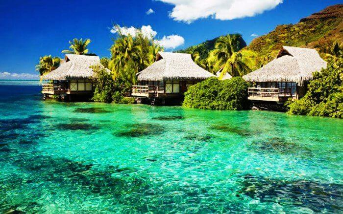 Tiki huts in Fiji Islands