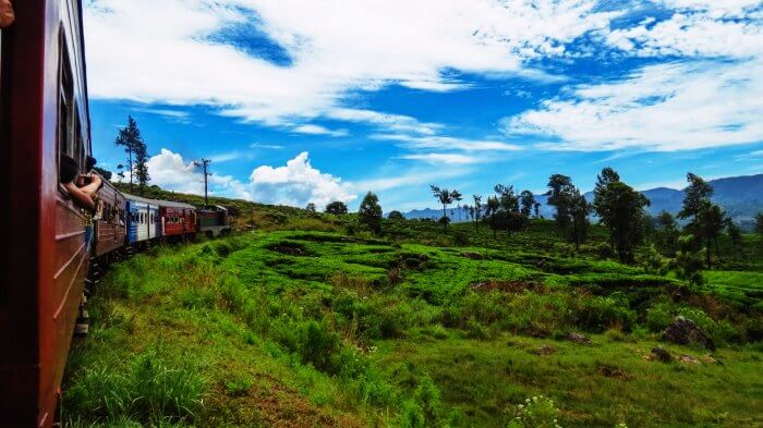 Train ride from Kandy to Nuwara Eliya in Sri Lanka