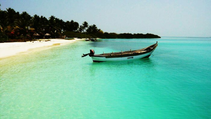 Fishing boat in Bangaram Island in Laccadive Islands