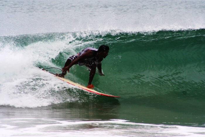 Surfing at Covelong beach in Chennai