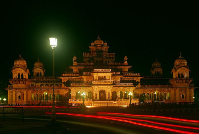 A night view of the Government Central Museum, also known as Albert Hall