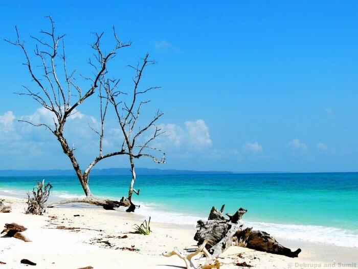 The turquoise waters and white sand of the Kala Pathar Beach in Andaman
