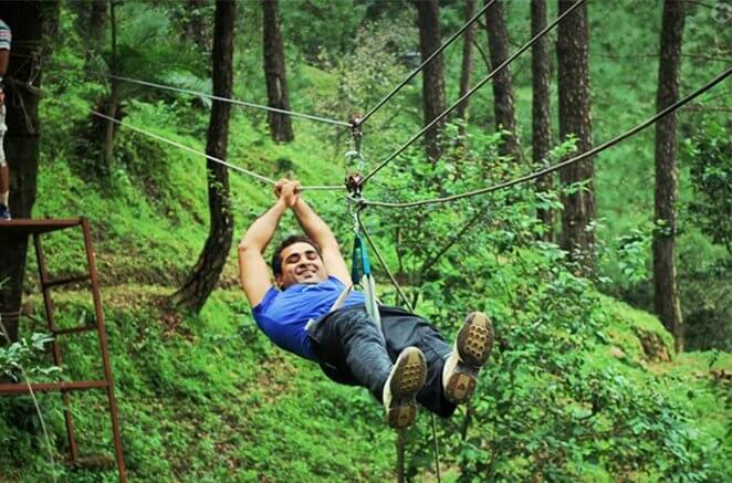 A person enjoying flying fox in Kangojodi