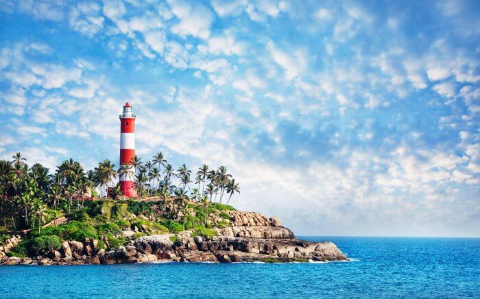 One of the most popular beaches in south India, Lighthouse Beach in Kovalam