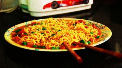 Maggi served in a plate