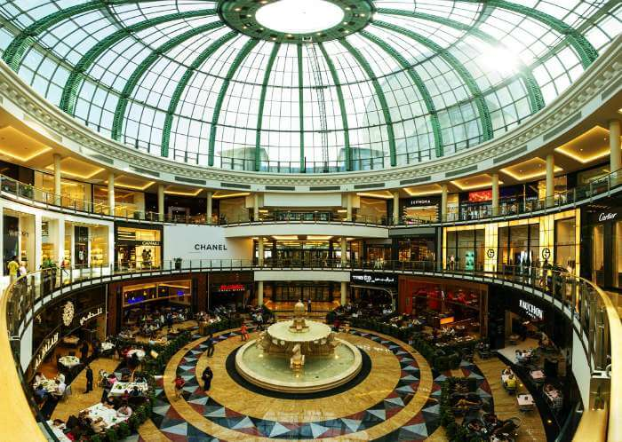 Grand interiors of the one of best shopping places in Dubai, Mall of the Emirates