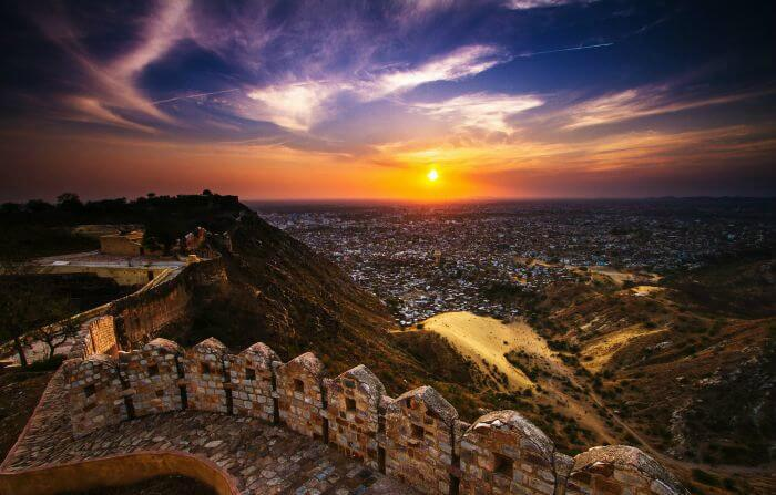 A beautiful sunset view from Nahargarh Fort, Jaipur