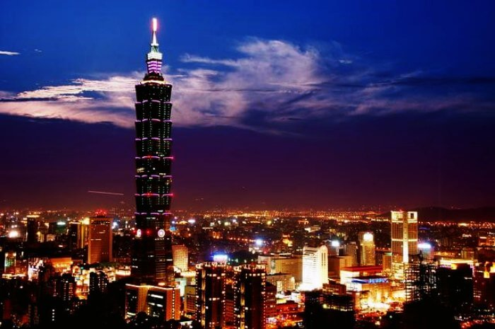 The top view of Taiwan at night